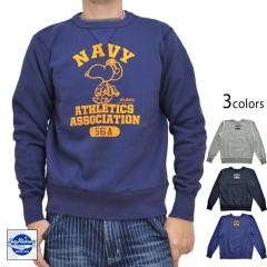 BUZZ×PEANUTSクルースウェット「NAVY ATHLETICS」◆BUZZ RICKSON'S